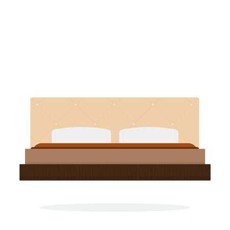 Double bed vector flat material design isolated object on white background.