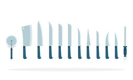 Sharp knives and other kitchen items in a row vector flat material design isolated object on white background.