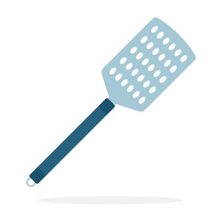 Spatula with holes vector flat material design isolated object on white background.