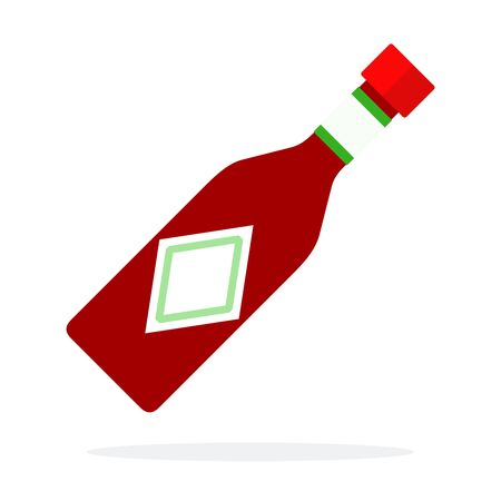 Salsa sauce in a glass bottle vector flat isolated
