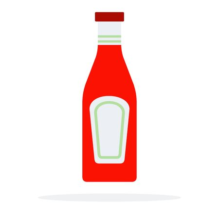 Glass bottle with ketchup vector flat isolated