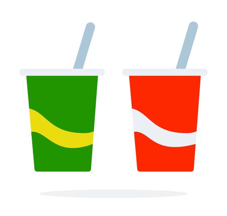 Plastic cups for beverages with straw vector flat isolated