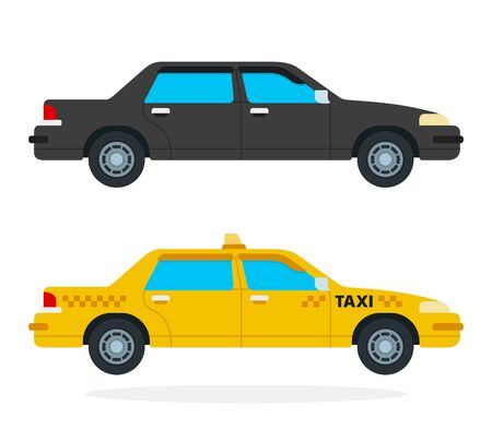 Luxury black car and yellow taxi vector flat isolated
