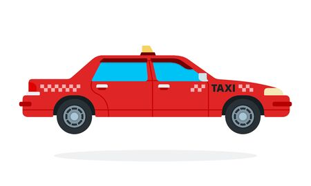 Red urban taxi vector flat isolated Illustration