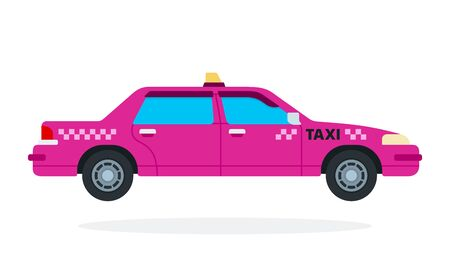 Pink urban taxi vector flat isolated