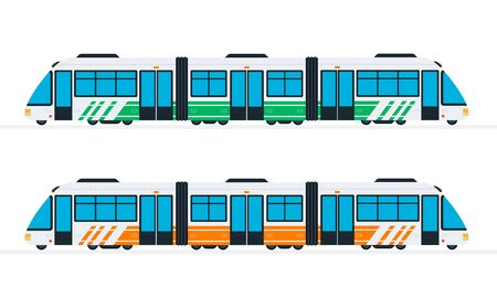 Speed intercity train in green and orange color vector flat isolated Illustration
