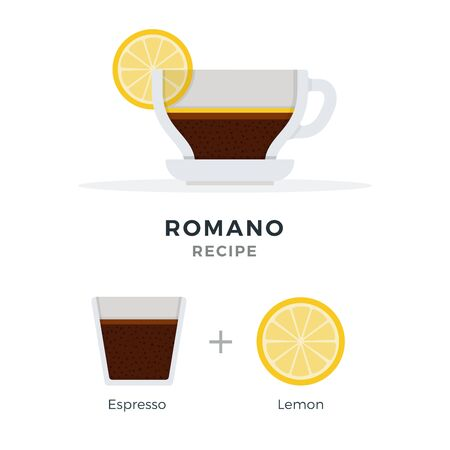 Romano coffee recipe espresso with lemon vector flat material design isolated on white Illustration