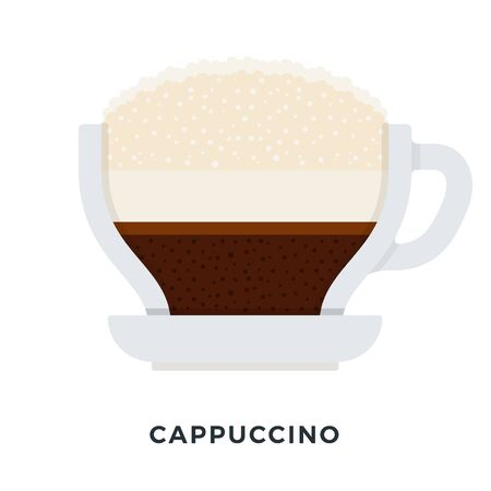 Cappuccino coffee vector flat material design isolated on white Иллюстрация