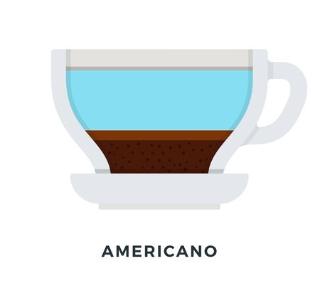 Americano coffee vector flat material design isolated on white