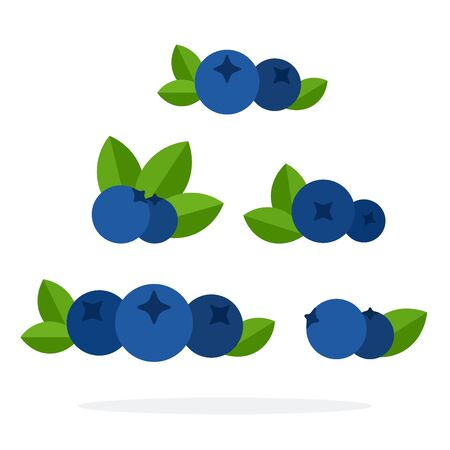 Berries blueberries vector flat material design object. Isolated illustration on white background. Фото со стока - 137227917