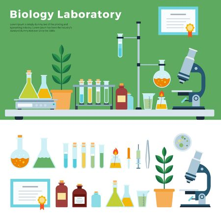 Biology Science Laboratory. Biological Laboratory Room, biology education, vector flat illustration.