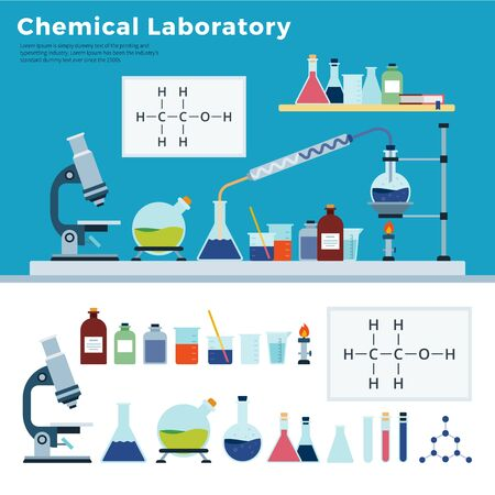 Chemical Laboratory Equipment, jars, flasks, microscope, lamp on table. Chemical science education vector flat illustration