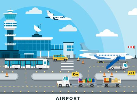 Airport Zone of arrival and departure of aircraft vector flat illustration. Isolated on white background.