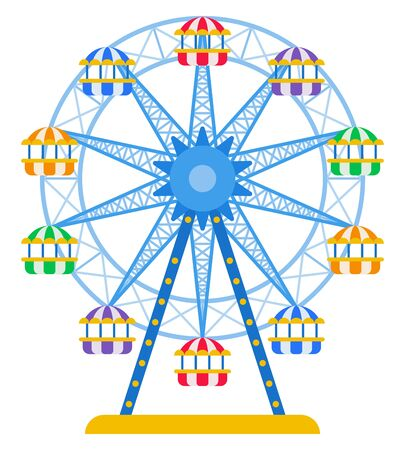 Ferris wheel with colored cabins for passengers vector icon flat isolated