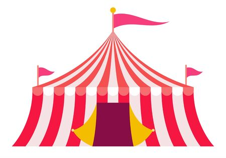 Red striped circus tent vector icon flat isolated