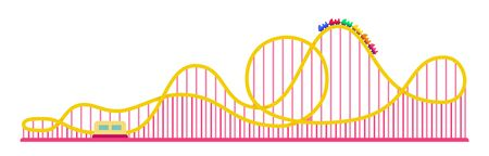 Roller coaster ride in an amusement park icon flat isolated