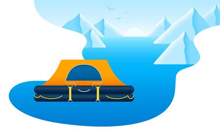 Mountain snow landscapes, sunrise, blue lake and orange inflatable tent floating on the water, outdoor activities vector flat icon isolated on white Illustration