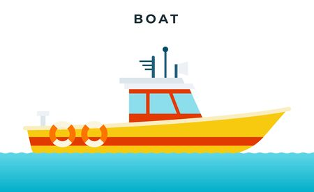 Search and rescue boat with a white cabin, lifebuoys vector icon flat isolated.