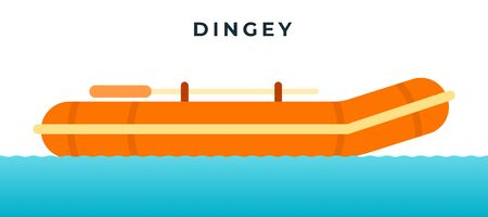 Inflatable rubber dingey with oars vector icon flat isolated.