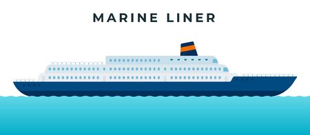 Marine liner, cruise ship making a tourist voyage and carrying passengers vector icon flat isolated.