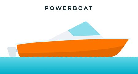 Powerboat , small boat equipped with an outboard motor vector icon flat isolated.