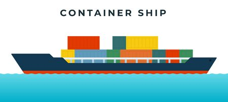 Blue container ship on the waves, for the transport of goods in standardized multi-colored containers vector flat icon isolated on white.