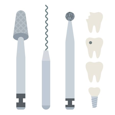 Dental burs with dental implants vector icon flat isolated