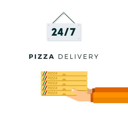 Pizza delivery service twenty four hours vector flat isolated Illustration