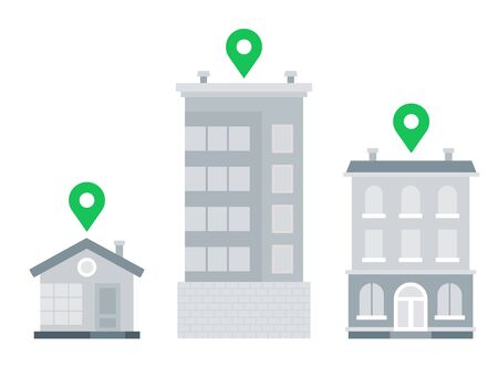 Location pins above buildings vector icon flat isolated