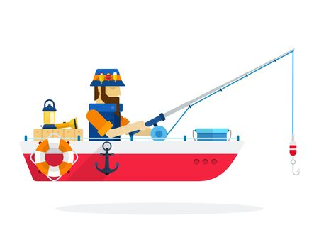 Fisherman in a boat Fishing vector icon flat isolated.