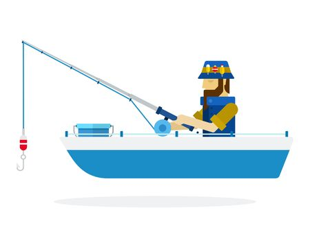 Fisherman in a panama hatches a fish with a fishing rod in a boat Fishing vector icon flat isolated. Vecteurs