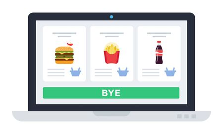 Laptop screen with website, food delivery application Drone delivery vector icon flat isolated.