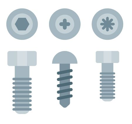 Varieties of screws Drone vector icon flat isolated. Иллюстрация