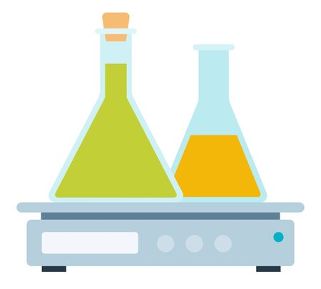 Magnetic stirrer with glass flasks vector icon flat isolated Illustration