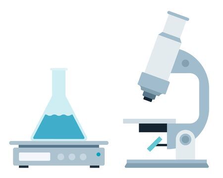 Laboratory medical instruments vector illustration in flat style.