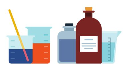 Set of laboratory glassware vector icon flat isolated Illustration
