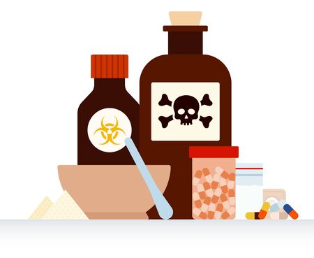 Drug packaging with a warning about the poison flat vector illustration.