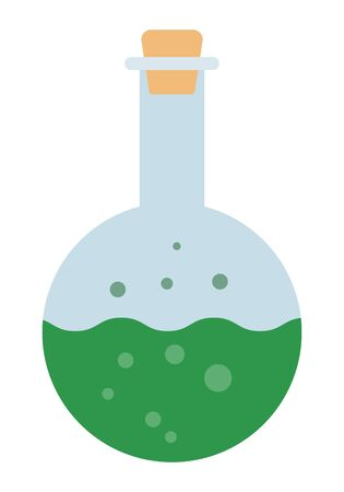 Glass bulb with green fluid vector icon flat isolated