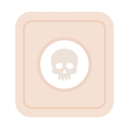 Skull in a circle on the label Medicaments Poison vector icon flat isolated