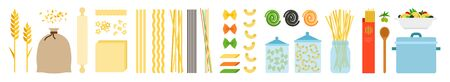 Set of pasta cooking steps vector icon flat isolated illustration Иллюстрация