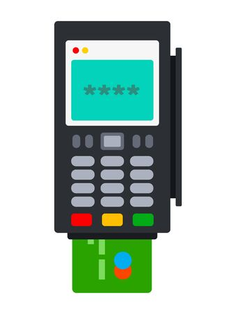Stationary terminal for cashless payment by cards flat icon vector isolated