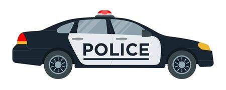 Police car with flasher vector icon flat isolated.