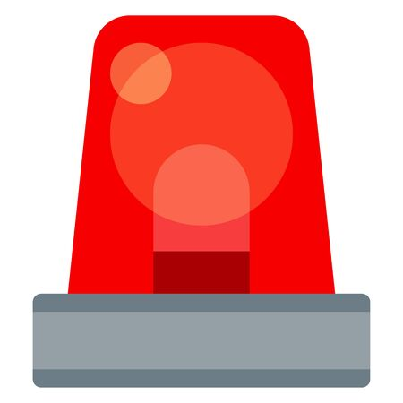 Flashing light red, element of a police car vector icon flat isolated. Illustration