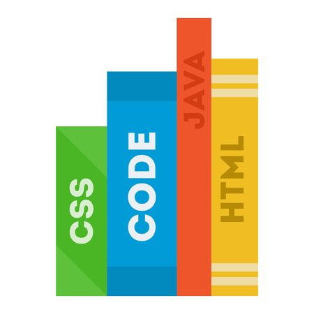 Different color programming books with text CSS, CODE, JAVA, HTML flat icon vector isolated.