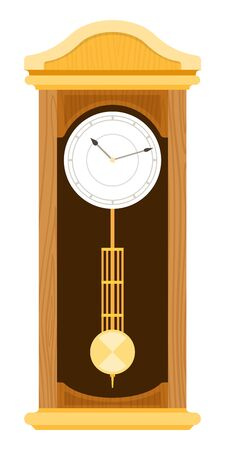 Grandfather wooden Clock vector icon flat isolated