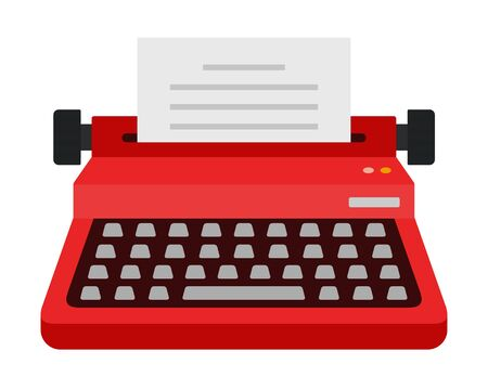 Writing red typewriter vector icon flat isolated