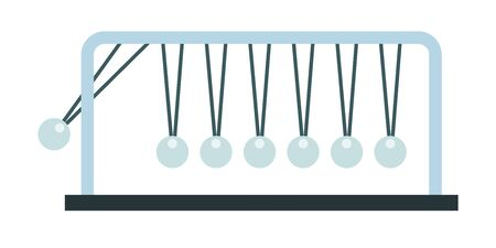 Flat vector icon newtons cradle silver balls viewed from the front.