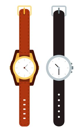 Wristwatch with leather straps vector icon flat isolated Vecteurs