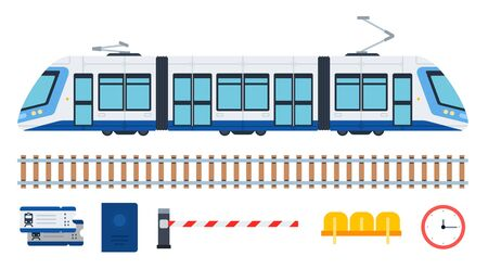 Modern city passenger tram and its elements vector illustration in flat design.