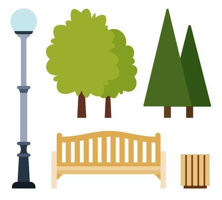 Collection vector illustration elements for urban public park in flat design.